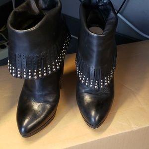 PRADA Leather Fringe-Embellished Ankle Boots